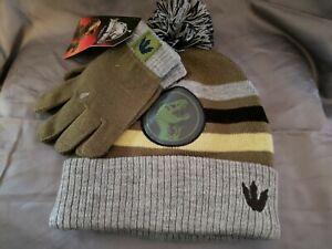 JURASSIC WORLD Kids Winter Hat Set With Gloves. NEW . Beanie Gloves Universal