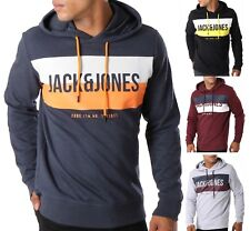 JACK & JONES Core Mens Sporty Overhead Gym Hoodie Logo Hooded Sweatshirt Top