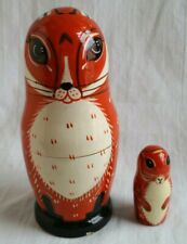 Set of 2 Wooden Foxes Fox Family Nesting Dolls Matryoska☆