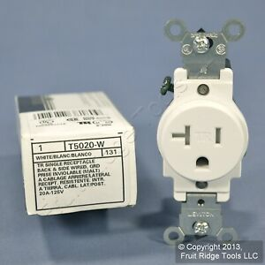 Leviton White TAMPER RESISTANT COMMERCIAL Single Outlet Receptacle 20A T5020-W
