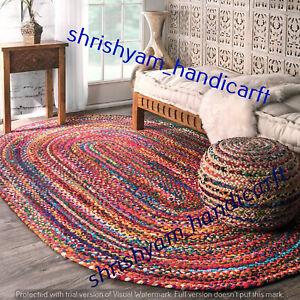 Handmade Multi Chindi Natural Rug Braided Oval Shape Rag Area Rugs Floor Carpet