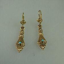 Paar Ohrringe mit kleinen Türkis im Stil der Gründerzeit (41198)