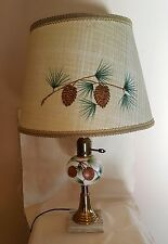 VINTAGE Electric Table Light Marble Slab Base Pine Tree Cone with Original Shade