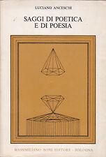 Luciano Anceschi. Saggi di poetica e di poesia. Ediz. corretta e ampliata. Boni