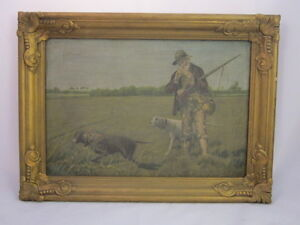 Vintage Framed Acrylic On Canvas On Board Hunter with Dogs Scene, Artist Unknown