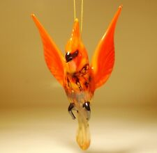 Blown Glass Art Figurine Hanging RED CARDINAL Bird Ornament