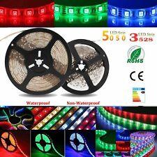 5M 300/600 LED Strip Light 3528 5050 SMD RGB Ribbon Tape Roll Waterproof DC WF