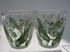 """2- Vintage """"Lily of the Valley""""  4oz. each Juice Drinking Glasses- White Flower"""