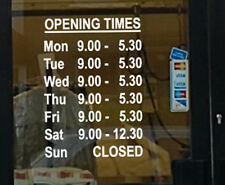 Personalised Customised Opening hours times Shop Window Vinyl Lettering Signs