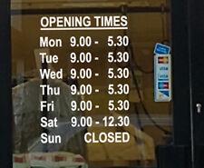 Personnalisé personnalisé connaître les heures d'ouverture vitrine lettrage en vinyle signes