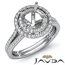Diamond Engagement Halo Pave Ring Round Semi Mount 1.55Ct Platinum Split Shank