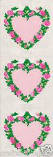Sandylion PINK HEARTS with ROSE GARLAND Maxi Scrapbook Stickers B21 *VINTAGE*