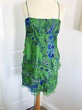 Zara Bright Blue/Green Silk Summer Strappy Layered Summer Top, Size Small (10)