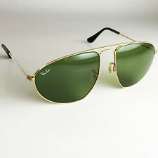 Vintage Ray Ban USA B&L FASHION METALS AVIATOR Sunglasses gold green RB3 59mm