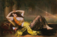 Nice Oil painting Adolphe Weiz - Odalisque young woman sleeping in Court canvas