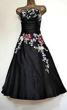 MONSOON ✩ STUNNING YASMIN EMBROIDERED BLACK SILK COCKTAIL DRESS ✩ UK 18
