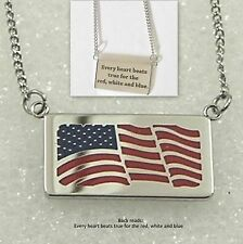 USA Flag Necklace Patriotic Silver Stainless Steel Pendant Red White Blue