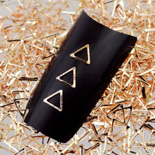 500PCS Champagne Gold Triangle Frame Metal Nail Art Studs Rhinestones Decal Tips