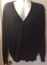 Men's BURBERRY Navy Blue Cardigan Sweater 100% Silk Light Knit V-Neck Sz L