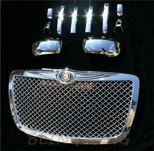 Fits 2005-2010 Chrysler 300 Chrome mesh GRILLE HANDLE MIRROR cover trim package