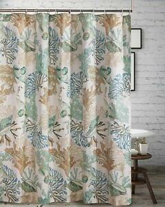 Green Tan Blue Shower Curtain Fabric Seashells Beach Nautical Ocean Summer 72x72