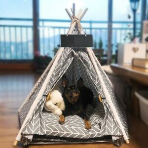 Pet Teepee Dog & Cat Bed White Canvas Cute House - Portable Washable Dog Tents