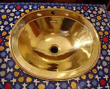 Brass Moroccan hand hammered plain large  oval/round sink wash basin