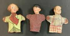 THREE STOOGES MOE LARRY CURLY VINTAGE HAND PUPPET TOY LOT PLASTIC HEAD + FABRIC