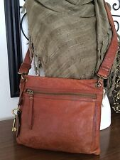 FOSSIL Sasha Crossbody Tooled Embossed Embroidery Leather Cognac Purse / FOB