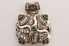 Turkish Jewelry Square Ruby Emerald Topaz 925 Sterling Silver Locket Pendant