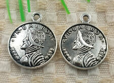60pcs tibetan silver tone ancient Chinese coin design charms EF1962