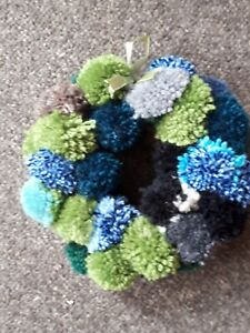Handmade Pom Pom Wreath - (Approx 30cm) Natural greens and blues