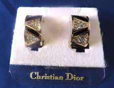 Signed Christian Dior - Vintage Rhinestone Gold Tone Clip On Earrings