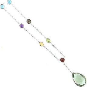 14K White Gold Multi-Colored Gemstone Necklace With A Pear Shape Drop 16 Inches