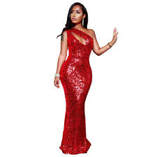 Women One Shoulder Sequins Hollow Out Bodycon Cocktail Party Evening Maxi Dress