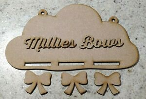 MDF Bow Holder Cloud Personalised Name - Embellish, Paint, Colour, Glitter DIY