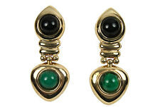 4.50tcw Round Black Onyx & Emerald Dangle Earrings Yellow Gold Earrings 14K