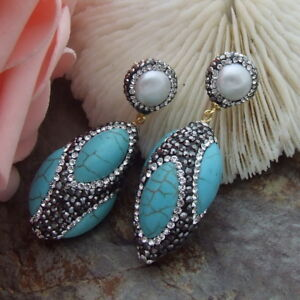 AB070115 White Pearl Turquoise Trimmed With Marcasite Earrings CZ Stud