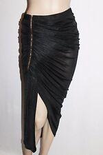 VALLEYGIRL Designer Black Zip Ruched Skirt Size S BNWT #SS118