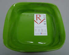 NEW Revol Froisse Plat Carre Crumple Porcelian Dish 25 x 7cm Green FR0825 FRANCE