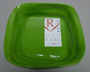 NEW Revol Froisse Plat Carre Crumple Porcelian Dish 25 x 7cm Green FR0825 FRANCE