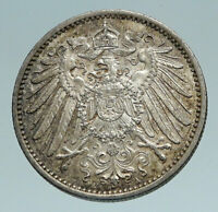1915 A GERMANY WILHELM II Eagle Antique German Empire Silver 1 Mark Coin i84211