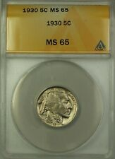 1930 Buffalo Nickel Coin 5c ANACS MS-65