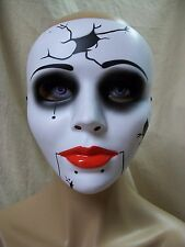 Creepy Cracked China Doll Costume Mask Broken Puppet Girl Shattered Goth Mime