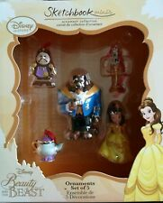 Disney store beauty and the beast sketchbook mini Christmas ornament box set new