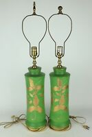Vintage Pair Green Glazed Ceramic Table Lamps Gold Painted Leaves, Tested/Works