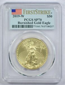 {DO288D} 2019-W $50 1 oz. Burnished Gold Eagle PCGS SP70