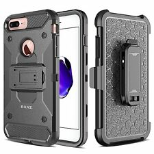 iPhone 7 Plus Case Armor Hybrid Belt Clip With Kickstand Cover - Black