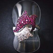 Luxuriöser Rubin Weißtopas Cluster Designer Ring 925 Silber rhodiniert 17,5 mm