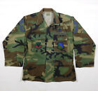 Vintage USA AIR FORCE Camo Uniform Jacket with Patches Unworn Small Extra Short